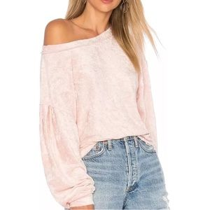 We The Free crushed velvet top sz S blush pink
